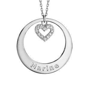 Collier en argent rhodié chaîne avec pendentif anneau à graver et coeur orné d\'oxydes blancs sertis suspendu au milieu  - longueur 42cm + 3cm de rallonge - Vue 1