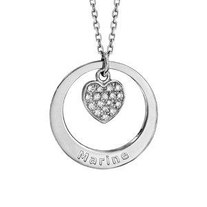 Collier en argent rhodié chaîne avec pendentif anneau à graver et coeur pavé d\'oxydes blancs sertis suspendu au milieu  - longueur 40cm + 5cm de rallonge - Vue 1
