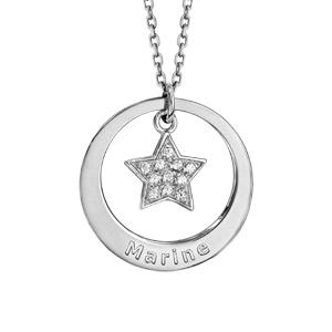 Collier en argent rhodié chaîne avec pendentif anneau à graver et étoile pavée d\'oxydes blancs sertis suspendu au milieu  - longueur 40cm + 5cm de rallonge - Vue 1
