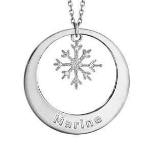 Collier en argent rhodié chaîne avec pendentif anneau à graver et flocon de neige orné d\'oxydes blancs sertis suspendu au milieu  - longueur 42cm + 3cm de rallonge - Vue 1