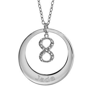 Collier en argent rhodié chaîne avec pendentif anneau à graver et symbole infini orné d\'oxydes blancs sertis suspendu au milieu  - longueur 40cm + 5cm de rallonge - Vue 1