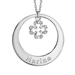 Collier en argent rhodié chaîne avec pendentif anneau à graver et trèfle à 4 feuilles orné d\'oxydes blancs sertis suspendu au milieu  - longueur 42cm + 3cm de rallonge - Vue 1