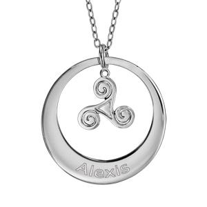 Collier en argent rhodié chaîne avec pendentif anneau à graver et triskel suspendu au milieu  - longueur 40cm + 5cm de rallonge - Vue 1
