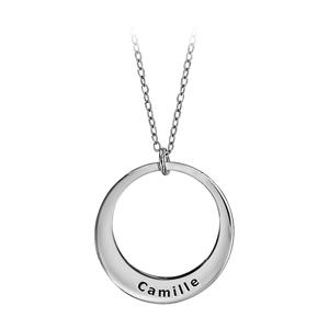 Collier en argent rhodié chaîne avec pendentif 1 anneau à graver - longueur 40cm + 5cm de rallonge - Vue 1