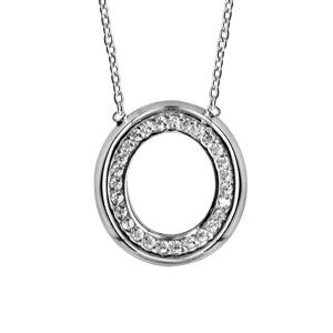 collier en argent rhodi cha ne avec pendentif anneau ovale avec bords lisses et orn d 39 oxydes. Black Bedroom Furniture Sets. Home Design Ideas