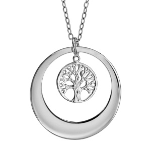 Collier en argent rhodié chaîne avec pendentif anneau prénom à graver avec arbre de vie ajouré suspendu - longueur 40cm + 5cm de rallonge à graver 1 ou 2 prénoms - Vue 1