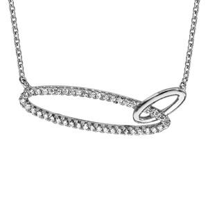 Collier en argent rhodié chaîne avec pendentif 2 anneaux ovales emmaillés, 1 lisse et l\'autre en oxydes blancs - longueur 40cm + 4cm de rallonge - Vue 1