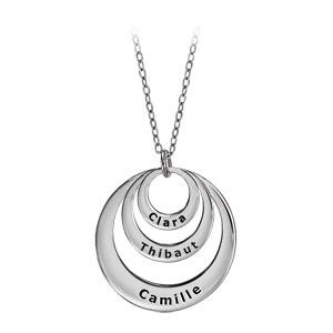 Collier en argent rhodié chaîne avec pendentif 3 anneaux prénom à graver - longueur 40cm + 5cm de rallonge - Vue 1