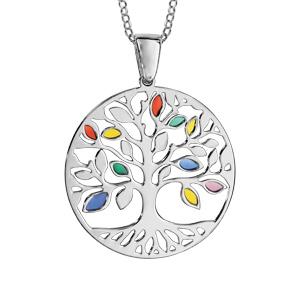 Collier en argent rhodié chaîne avec pendentif arbre de vie ajouré et feuilles en résine multicolore - longueur 42cm + 3cm de rallonge - Vue 1