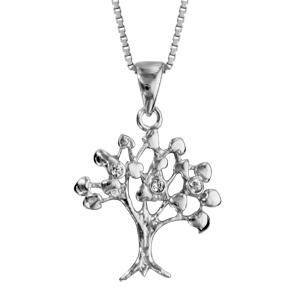 collier en argent rhodi cha ne avec pendentif arbre de vie avec oxydes blancs sertis au bout. Black Bedroom Furniture Sets. Home Design Ideas