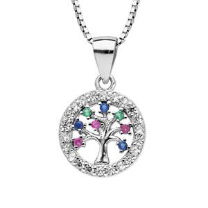 Collier en argent rhodié chaîne avec pendentif arbre de vie multi couleurs contours oxydes blancs sertis longueur 42+3cm - Vue 1