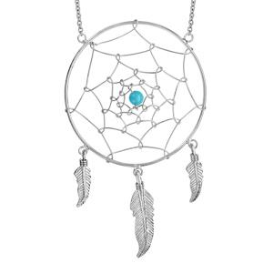 Collier en argent rhodié chaîne avec pendentif attrape rêve avec 1 boule turquoise au centre et 3 plumes suspendues - longueur 60cm - Vue 1