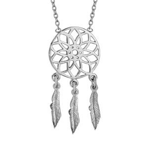 Collier en argent rhodié chaîne avec pendentif attrape rêve avec 3 plumes suspendues - longueur 37cm + 4cm de rallonge - Vue 1