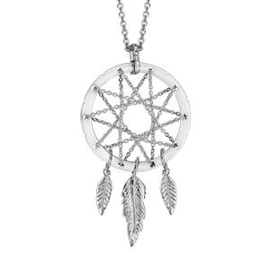 Collier en argent rhodié chaîne avec pendentif attrape rêve avec tour en céramique blanche, milieu en chaînettes et 3 plumes suspendues - longueur 42cm + 3cm de rallonge - Vue 1