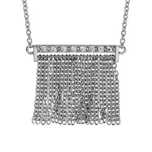 Collier en argent rhodié chaîne avec pendentif baguette ornée d'oxydes blancs avec franges en chaînettes - longueur 42cm + 3cm de rallonge