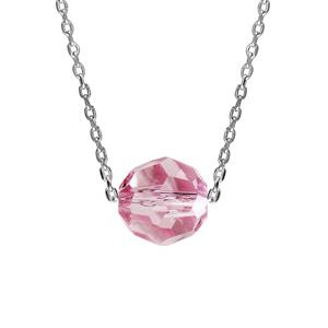 Collier en argent rhodié chaîne avec pendentif boule cristal rose facetté 42cm + 3cm - Vue 1
