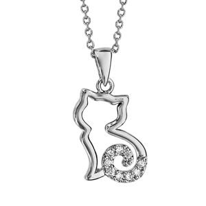 Collier en argent rhodié chaîne avec pendentif chat ajouré stylisé avec queue ornée d\'oxydes blancs - longueur 40cm + 4cm de rallonge - Vue 1