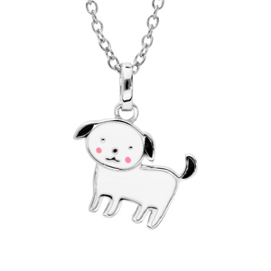 Collier en argent rhodié chaîne avec pendentif chien noir et blanc 36+2cm - Vue 1