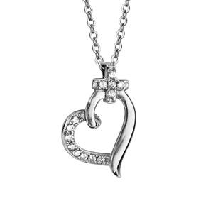 Collier en argent rhodié chaîne avec pendentif coeur avec 1 moitié lisse et l'autre ornée d'oxydes blancs et bélière en petite croix en oxydes blancs - longueur 42cm + 3cm de rallonge