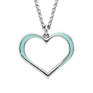Collier en argent rhodié chaîne avec pendentif coeur couleur turquoise 42+3cm - Vue 1