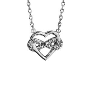 Collier en argent rhodié chaîne avec pendentif coeur et infini oxydes blancs sertis 42cm - Vue 1