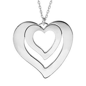 Collier en argent rhodié chaîne avec pendentif coeur à graver 1, 2, 3 ou 4 prénoms longueur 40+5cm - Vue 1