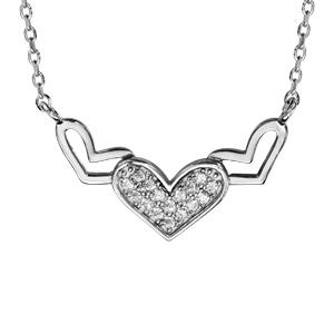 Collier en argent rhodié chaîne avec pendentif 3 coeurs dont 2 évidés et 1 pavé d'oxydes blancs sertis au milieu - longueur 40cm + 5cm de rallonge