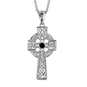 Collier en argent rhodié chaîne avec pendentif croix celtique ornée d\'1 pierre noire - longueur 42+3cm - Vue 1