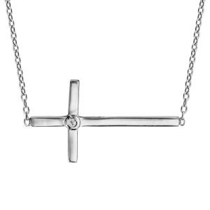 Collier en argent rhodié chaîne avec pendentif croix lisse couchée et 1 oxyde blanc serti à l'intersection - longueur 39,5cm + 3cm de rallonge