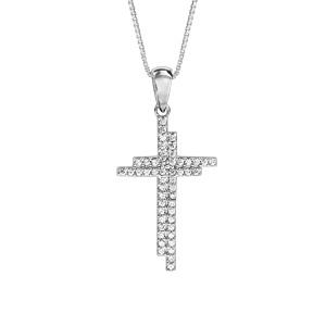 Collier en argent rhodié chaîne avec pendentif croix oxydes blancs sertis 42cm + 3cm - Vue 1