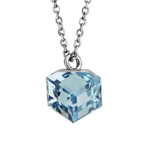 Collier en argent rhodié chaîne avec pendentif cube cristal bleu ciel 42cm + 3cm - Vue 1