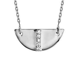 Collier en argent rhodié chaîne avec pendentif demi lune avec barrette d\'oxydes blancs sertis au milieu - longueur 39cm + 3cm de rallonge - Vue 1