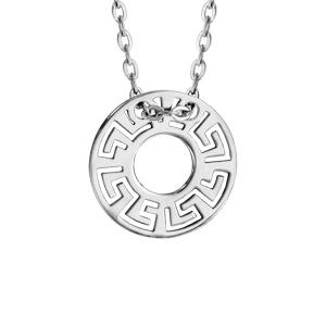 Collier en argent rhodié chaîne avec pendentif disque découpé en méandres grecs - longueur 40cm + 5cm de rallonge - Vue 1