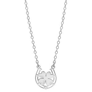 Collier en argent rhodié chaîne avec pendentif fer à cheval avec 1 trèfle à 4 feuilles au centre - longueur 40cm + 5cm de rallonge - Vue 1