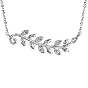 Collier en argent rhodié chaîne avec pendentif feuillage lisse et oxydes blancs 40cm + 4cm - Vue 1