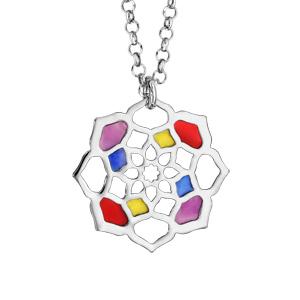 Collier en argent rhodié chaîne avec pendentif fleur multicolore et ajourée - longueur 42cm + 3cm de rallonge - Vue 1