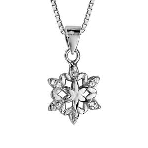 Collier en argent rhodié chaîne avec pendentif flocon de neige orné d\'oxydes blancs sertis - longueur 42cm + 3cm de rallonge - Vue 1