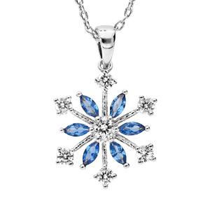 Collier en argent rhodié chaîne avec pendentif flocon de neige oxydes blancs sertis et navettes bleues 40+5cm - Vue 1