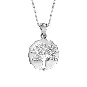 Collier en argent rhodié chaîne avec pendentif galet découpé arbre de vie ajouré 42cm + 3cm - Vue 1