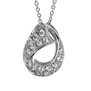 Collier en argent rhodié chaîne avec pendentif goutte en ruban vrillé lisse et ornée d\'oxydes blancs sertis - longueur 42cm + 3cm de rallonge - Vue 1