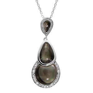 Collier en argent rhodié chaîne avec pendentif gouttes en nacre noire véritable avec tour lisse et ouvragé et orné d'oxydes blancs sertis - longueur 42cm + 3cm de rallonge