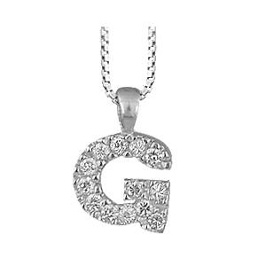 Collier en argent rhodié chaîne avec pendentif initiale G ornée d\'oxydes blancs - longueur 45cm - Vue 1