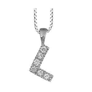 3d74d0b552f Collier en argent rhodié chaîne avec pendentif initiale L ornée d oxydes  blancs - longueur 45cm