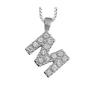 Collier en argent rhodié chaîne avec pendentif initiale M ornée d\'oxydes blancs - longueur 45cm - Vue 1