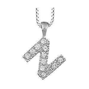 Collier en argent rhodié chaîne avec pendentif initiale N ornée d\'oxydes blancs - longueur 45cm - Vue 1