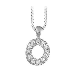Collier en argent rhodié chaîne avec pendentif initiale O ornée d\'oxydes blancs - longueur 45cm - Vue 1