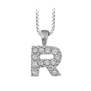 Collier en argent rhodié chaîne avec pendentif initiale R ornée d\'oxydes blancs - longueur 45cm - Vue 1