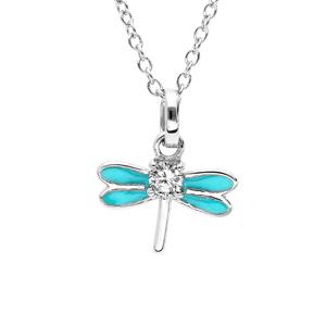 Collier en argent rhodié chaîne avec pendentif libellule couleur turquoise et oxydes blancs sertis 36+2cm - Vue 1