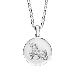 Collier en argent rhodié chaîne avec pendentif licorne martelée sur galet 40+5cm - Vue 1