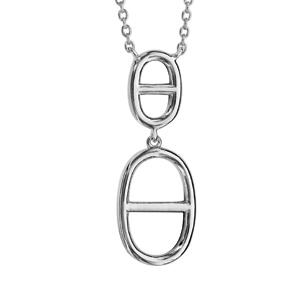 Collier en argent rhodié chaîne avec pendentif 2 mailles marines - longueur 40cm + 4cm de rallonge - Vue 1